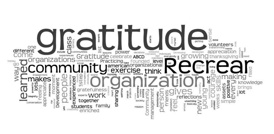 Recrear, gratitude